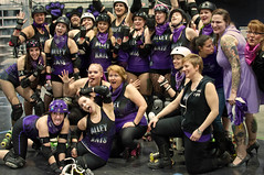 Alley Kats Group Portrait (SandyWhitt) Tags: city girls buffalo alley district rollerderby queen brewery roller devil vs derby kats dollies riverworks wftda