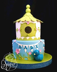birdhouse baby shower cake (RebeccaSutterby) Tags: pink flowers blue baby house green bird cake birdie shower 3d teal birdhouse sparkle lime