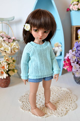 Littlefee sweater in Aqua (Milk and Bunny) Tags: ball doll tan bjd fairyland jointed lishe littlefee milkbunnyboutique