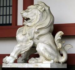 Lion statue, Kitano Tenmangu Shrine, Kyoto, Japan, July 2014 (Judith B. Gandy) Tags: japan kyoto statues temples lions shinto shrines kitanotenmangushrine shintoshrines tenmang kitanotenmang michizanesugawara studyshrine