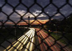 _72A6945-FB (Val. Shvetsov) Tags: bridge sunset usa ny brooklyn night verrazanobridge verrazanonarrows movingcars valeriyshvetsov lookingthruwiremesh