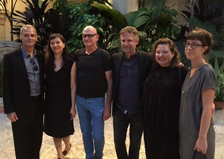 Vizcaya CEO Joel Hoffman with curator Gina Woutens and artists Duane Brant, Magnus Sigurdarson, Lucinda Linderman and Frances Trombly, who exhibited their artworks throughout Vizcaya