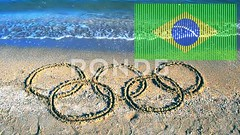 062708395-symbol-olympic-game-sand-beach (daria.boteva) Tags: world brazil game beach water beauty childhood silhouette sport rio horizontal riodejaneiro composition writing handwriting outdoors design team sand message symbol drawing flag text year banner wave competition nobody nopeople newyear ring clean number international brazilian olympics script drawn athlete simple handwritten advertizing olympicgames competitions 2016 olympicrings summergames rio2016
