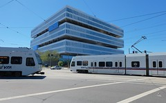 the reveal (Riex) Tags: california building lines architecture facade sanjose samsung fujifilm siliconvalley geometrical tramway btiment lignes vta layered xm1 geometrique nbbj xtrans fujinonxc1650mmf3556ois