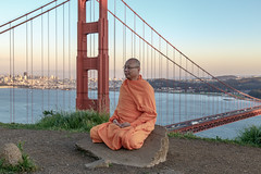 Golden Gate Bridge, San Francisco (john.gillespie) Tags: sanfrancisco california city bridge sunset landscape golden bay spring gate san francisco downtown meditate afternoon waterfront buddha buddhist battery monk buddhism goldengatebridge goldengate baybridge meditation spencer batteryspencer vsco