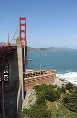 Golden Gate Bridge - Ft Point Below - 2016 (tonopah06) Tags: sanfrancisco california ca goldengatebridge sanfranciscobay ftpoint ggb 2016 bridgedeck
