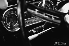 The Packard Experience (Hi-Fi Fotos) Tags: blackandwhite bw emblem logo mono nikon classiccar antique interior name detroit plate dash american badge studebaker brand luxury extinct packard d5000 hallewell hififotos