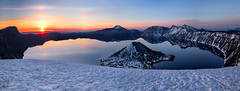 Crater lake sunrise (Sribha Jain) Tags: morning blue panorama snow mountains reflection water oregon sunrise canon wow volcano mirror us nationalpark calm clear craterlake wizardisland pristine sunstar watchmanlookout