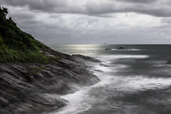 Rock'n Sea (Cristian Malevic) Tags: longexposure sea brazil beach nature brasil nikon rocks waves br saopaulo cloudy outdoor sopaulo stormy rainy drama perube d810 guarau
