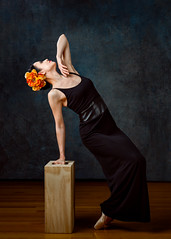 Ballerina (sauliuske) Tags: portrait female pose studio ballerina dancer backdrop blackdress applebox