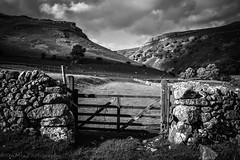Sormy Goredale Gateway (jasonmgabriel) Tags: trees shadow bw white black monochrome field stone wall clouds landscape scenery gate yorkshire dry hills scar dales malham goredale