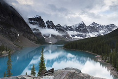 Moraine Lake Rain (andrewpmorse) Tags: blue trees cloud mountain lake snow canada storm rain weather canon landscape alberta banff banffnationalpark 6d morainelake leefilters lee06ndgradsoft 1635f4l