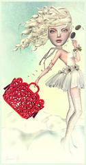 My Red Bag (Jewel Appletor aka Karalyn Hubbard) Tags: red art clouds hair artwork truth doll artist boots lace surreal windy skirt fantasy whimsical lode maitreya bjddoll posesion myredbag pinkacid dollcoco