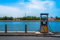 Port, Harbour (ealmassrey) Tags: blue sea sky urban port harbor dubai gulf view harbour crane seat uae bluesky nopeople cargo gas petrol seaport alras cargocrane