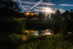 Reversed Sunset (M-Z-Photo) Tags: colmberg bayern deutschland de langzeitbelichtung nachtaufnahme burg wasserspiegelung reflxionen