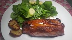 """#240716 #jantar #barriga  de #porco grelhada e agrio  #dinner  Grilled #pork""""s belly  and salad (i cook my meals daily) Tags: barriga porco 240716 pork dinner jantar"""