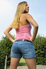 Missy 03 (The Booted Cat) Tags: sexy candid blonde girl demin jeans hotpants legs