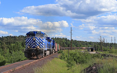 Looping around Empire (GLC 392) Tags: road railroad trees sky 3 clouds mi train way iron mine michigan cleveland rail railway palmer cliffs empire ge ore 1500 1004 1003 jennies tilden cefx ac4400cw