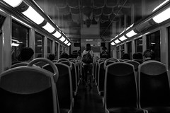 Train de Banlieue (::nicolas ferrand simonnot::) Tags: multi coated carl zeiss jena 28mm f28 1994 | 6 blades iris pk mount f56 oem manufactured japan between 1985 1995 under licence from veb meyer optics czj black white street photography train metro subway vintage manual german ddr east prime lens
