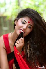 D E E (Niladri Chatterjee) Tags: red face model nikon pretty shoot expression 85mm shy mischievous bridal d800 18g