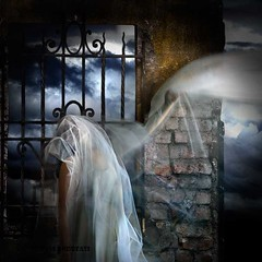Dressed with ideas (Silvia Andreasi (Images Beyond Mirror)) Tags: light woman clouds photomanipulation whimsy gate veil wind surrealism bricks surreal dreaming fabric fantasy forgotten squareformat ethereal imagination mystical confusion mystic lightness whimsical dreamscape unconscious fineartphotography conceptualphotography whimsicalphotography imagesbeyondmirror silviaandreasi