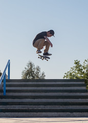 Flip (homeroprodan) Tags: patagonia argentina stairs contraluz stair skateboarding perspective gap escalera joaquin skatepark flip skate skateboard perspectiva misfotos escaleras sk8 backlighting kickflip trelew patineta
