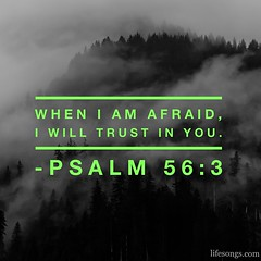 "LifeSongs Uplifting Word: ""When I am afraid, I will trust in You."" - Psalm 56:3  #Bible #quotes #inspirational #motivational #positive #truth #afraid #trust #hope #love #God #Jesus #Christ #Christian #gospel #mountains #BlackAndWhite #clouds #fog #LifeSon"