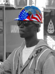 The Patriot Construction Worker: God Bless America (Thank you for 3M+ views.) Tags: world life street camera city uk people urban blackandwhite bw usa white streetart black color colour monochrome face modern amer