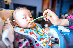 Portrait of baby (HIKARU Pan) Tags: china boy portrait baby horizontal photography asia shanghai eating chinese wideangle indoors motherandson 24l 1dx canonef24mmf14liiusm eos1dx