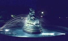 Wellsboro, PA (lindastager) Tags: nightphotography fountain statue gaslight wellsboropa wynkenblynkenandnod