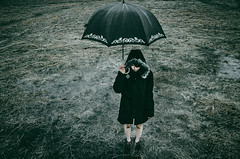 *** (LEAF - ) Tags: portrait woman abstract black art girl beautiful grass rain fashion mood afternoon sad emotion outdoor young style charm doubt in bestportraitsaoi
