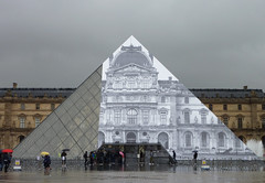 JR is making the Louvre pyramid disappear (Monceau) Tags: paris architecture different pyramid louvre contemporary workinprogress jr surprise unusual musedulouvre disappearing
