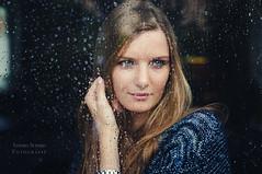 Marlene (Sandra Schmid ) Tags: blue portrait people window girl beautiful smile rain canon austria droplets spring pretty blueeyes youngwoman canonphotography