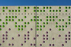 Green and pink dots (Jan van der Wolf) Tags: pink shadow green texture rose wall architecture groen pattern purple line dots schaduw architectuur muur paars lijn patroon stippen leidschenveen map15539v
