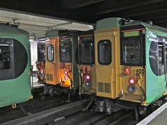 About to Join (Deepgreen2009) Tags: light london station electric platform railway victoria southern coupling terminus 455 units