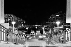 Looking down the stairs (petia.balabanova(tnx for +1.000.000 views)) Tags: biancoenero longexposure frame monocromo monochrome blackandwhite stairs down marina sea water architecture buildings boats night lights summer malta portomaso stjulians 2470mm nikond800 travel city cityscape