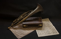 Vecchi ricordi (emanuel.foglia) Tags: tromba ottone rame valigia ricordi life still stilllife composizione spartiti note musicali d7200 nikon sigma1835 art fanfara esercito