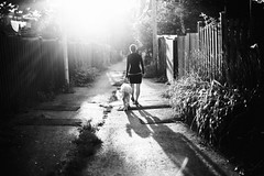 (LindaRaymond) Tags: dog bw women sunset montreal alley