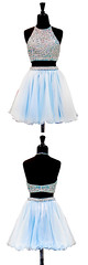 Homecoming Dress (provencelavender) Tags: twopiece halter aboveknee light blue chiffon homecoming dress with beading