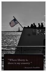 Where Liberty is..... (msankar4) Tags: city newyorkcity blackandwhite bw ny newyork ferry liberty manhattan batterypark statueofliberty