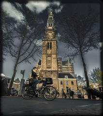 Amsterdam Westerkerk (Michael Shoop) Tags: church netherlands amsterdam bike bicycle canon candid prinsengracht rembrandt westerkerk candidstreetphotography westernchurch canon7dmarkii michaelshoop