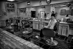 Carrick the Barber Full B&W (alanroseman) Tags: northcarolina antiques selma barrick northnorthcarolina barrickcoley