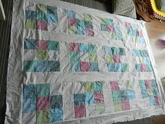 Quilt 001 (littlegreyhedgehog) Tags: quilt quilting 9patch quilttop fatquarter