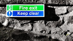 Fire Exit - Keep Clear (Mark.L.Sutherland) Tags: blue detail green sign wall shadows perspective cellphone samsung smartphone phonecamera sutherland colorsplash android coloursplash fireexit selectivecolour keepclear phonography androidography galaxys5