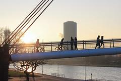 Frankfurt - Passengers on Holbeinsteg at golden hour (andre.douque) Tags: skyline sonnenuntergang frankfurt main brücke mainufer holbeinsteg gerippte winternachmittag
