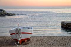 Mediterranean Sunset (MarcelGermain) Tags: travel winter sunset sea sky beach water photography evening boat sand nikon rocks mediterranean european waves horizon rope catalonia rowboat catalunya calelladepalafrugell baixempordà d3200 marcelgermain