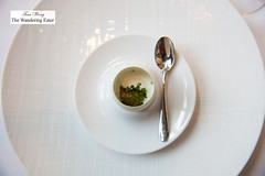 Egg a la L'Arpege - Yolk, sorghum syrup, JQ Dickinson salt, chive (thewanderingeater) Tags: atlanta dinner georgia buckhead finedining restauranteugene