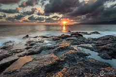 Morning glow (Sicilian1976) Tags: sea seascape reflection water clouds sunrise rocks greece nisi griekenland chersonissos canon6d