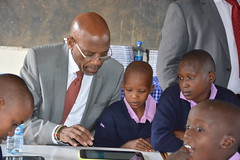 PS Sammy Itemere Sharing a moment with the pupils