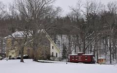 Canaseraga, New York (2 of 2) (Bob McGilvray Jr.) Tags: wood railroad red ny newyork yard train private wooden display tracks caboose cupola erie canaseraga